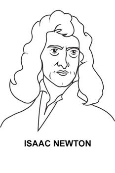 Good Looking Face Isaac Newton Coloring Page For Kids