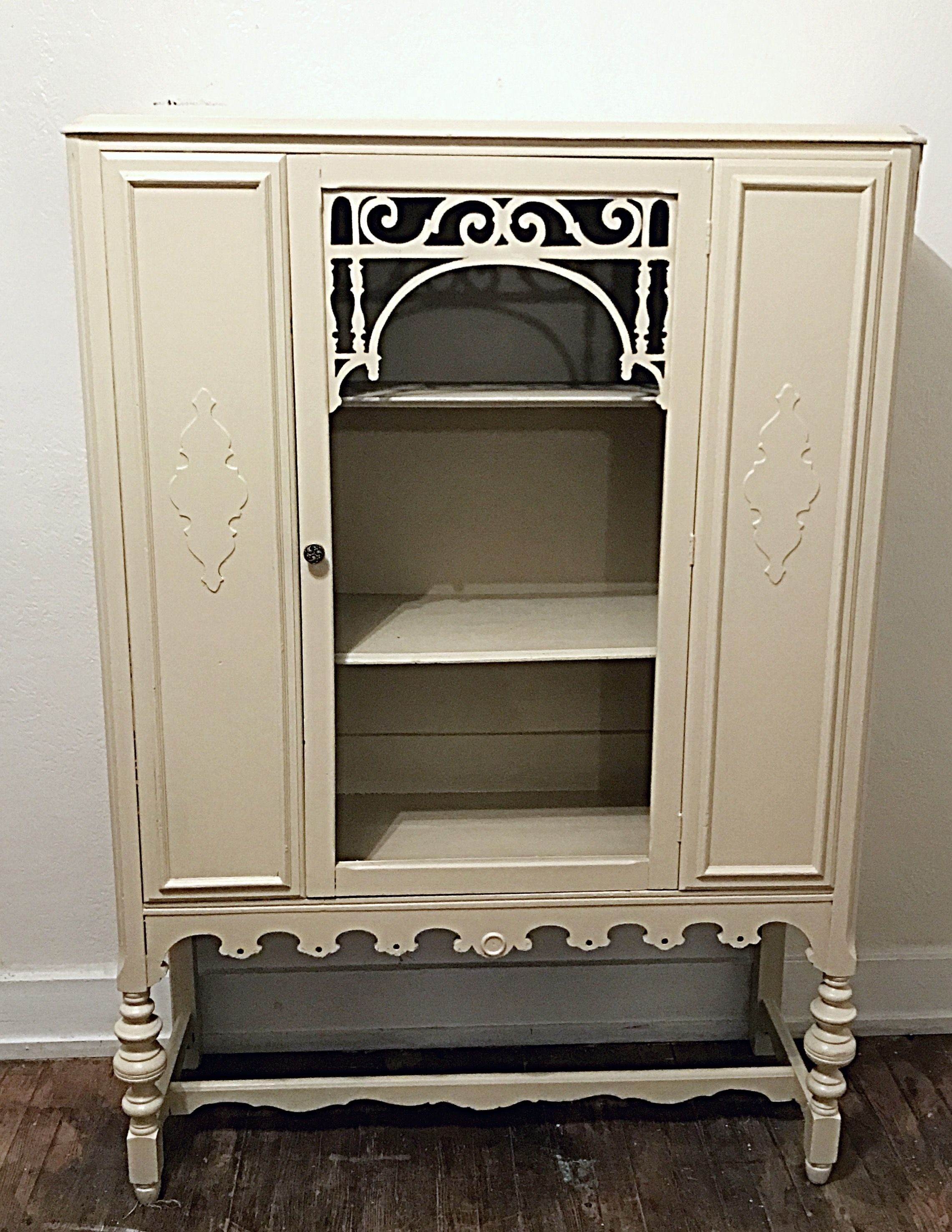 Antique White China Hutch Refinished