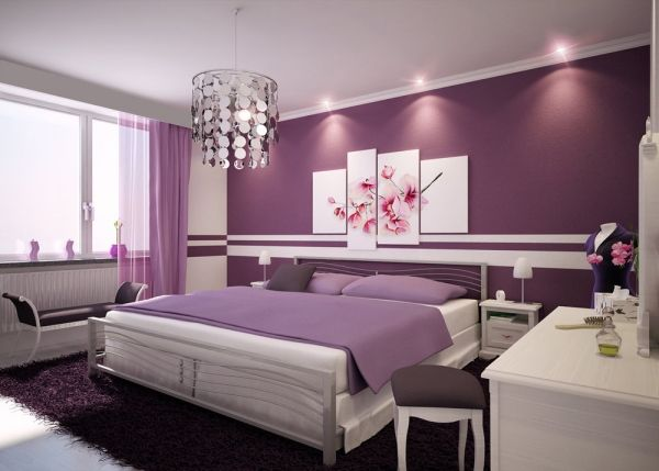 Feng-Shui Lila-Farben Schlafzimmer-Gestaltungsideen | Bedroom ...