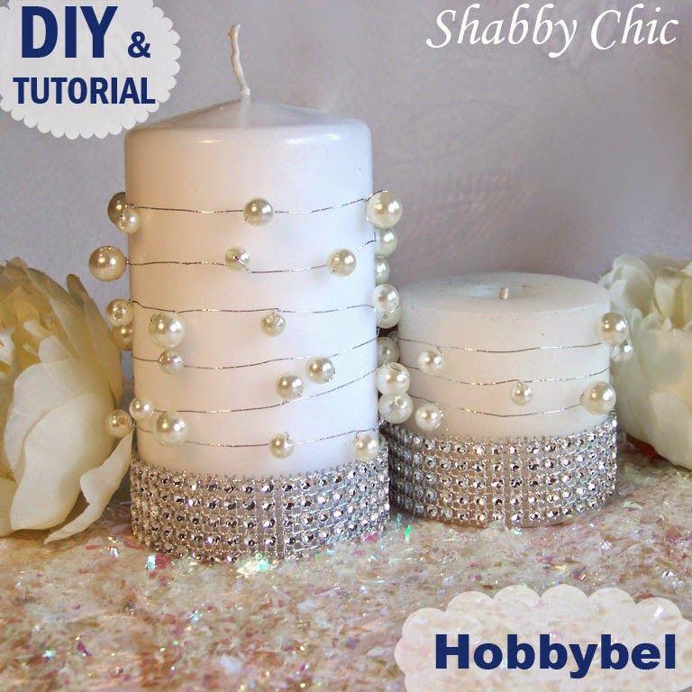 candela centrotavola matrimonio fai da te shabby chic con perle ...
