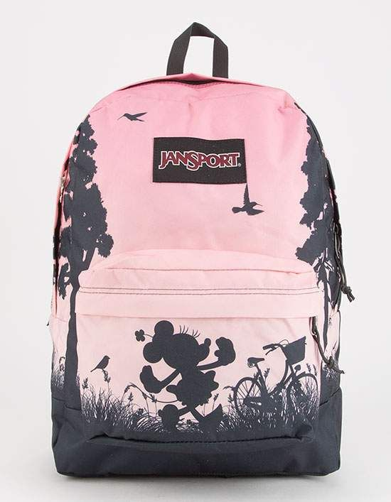 606d6afa761 JanSport x Disney High Stakes Super Cute Minnie backpack. Features an  allover Minnie Mouse print. Spacious main compartment. Medium front pocket  with ...