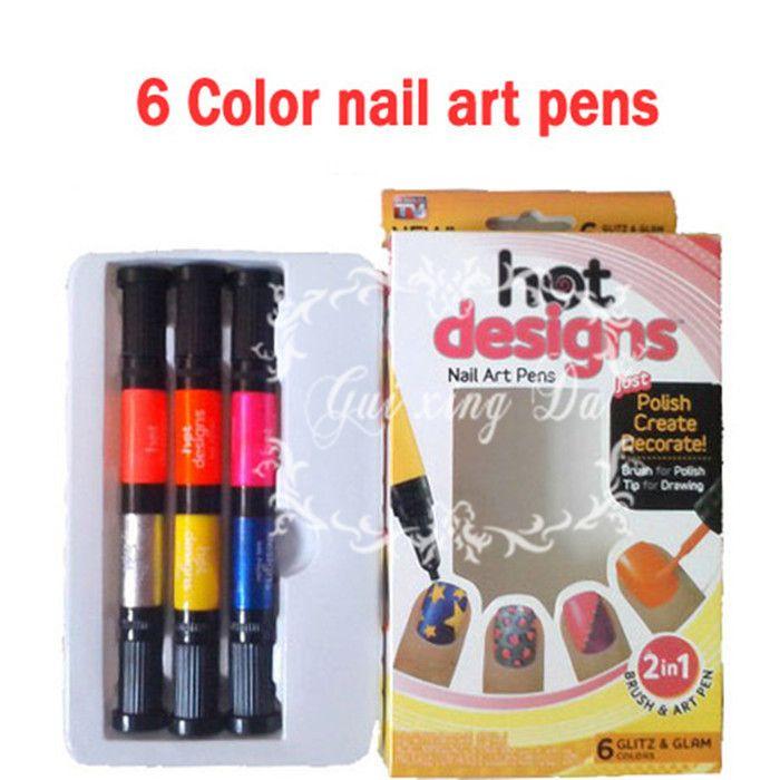 hot designs nail art pens,Nails art tools,Nail brush,6 Color Starter ...