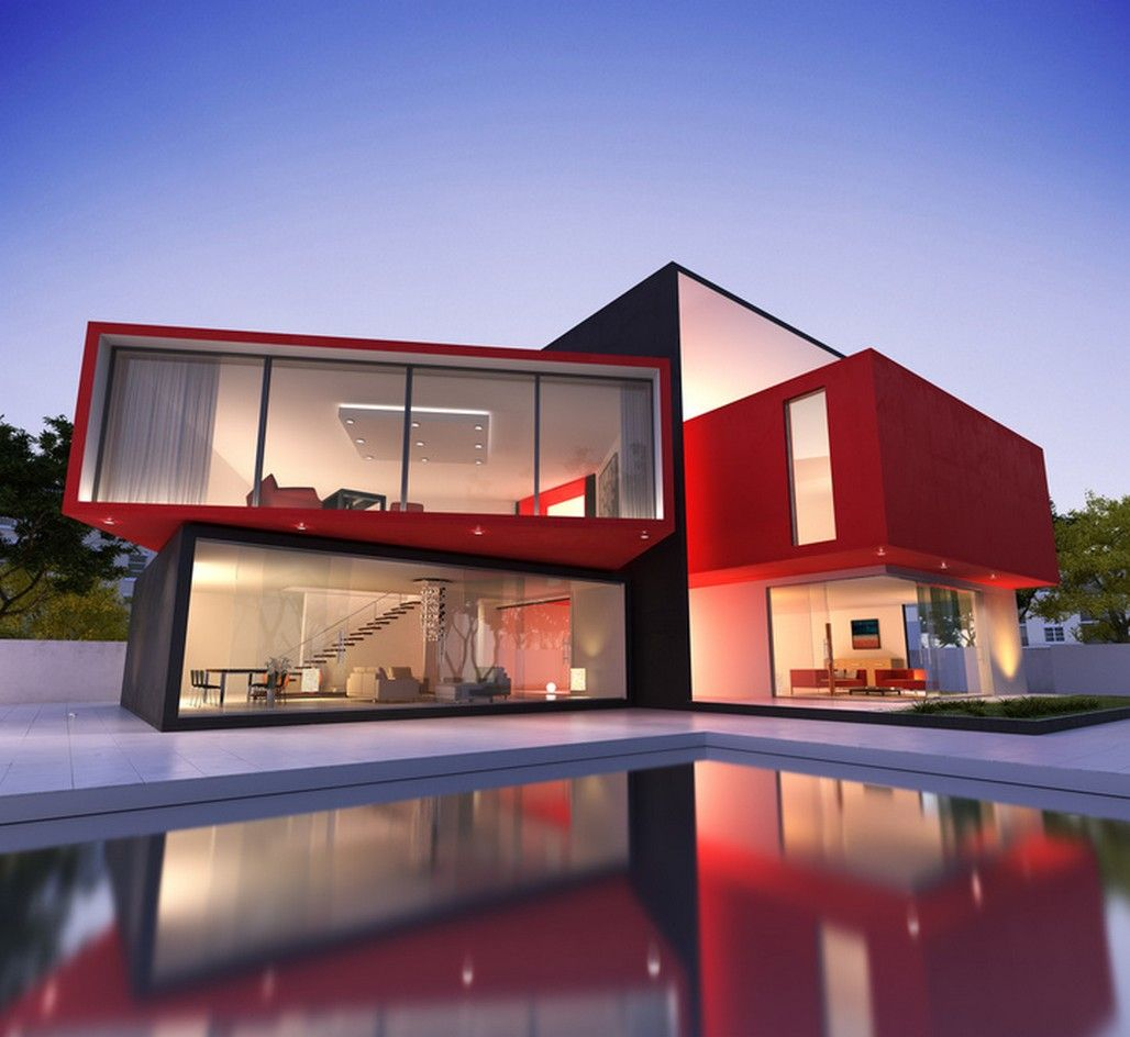 Decorations: Red Exterior House Color Schemes With Modern Swimming on outside house paint colours, outside fireplace designs, room colors and designs, outside house design ideas, outside garage designs, outside house lighting design, outside patio designs, outside kitchen designs,