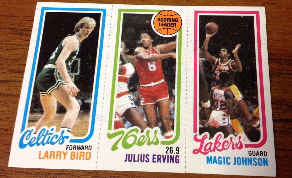198081 topps larry bird magic johnson rookie card