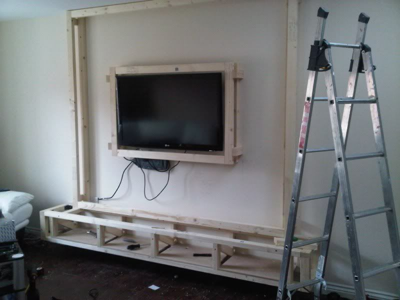 Diy floating wall unit idea living room pinterest for How to build floating walls in basement