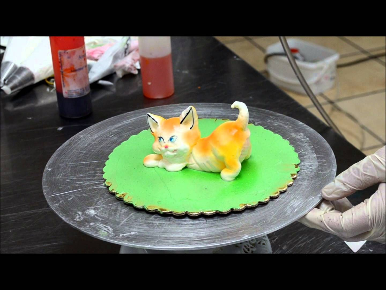 Decorating Cat from Cream Whipped cream Cat Eatable