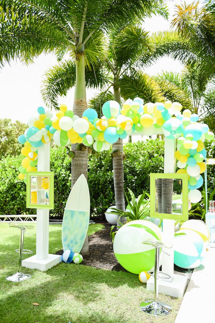 Surfs Up Beach Birthday Party Photo booth Beach and Birthdays