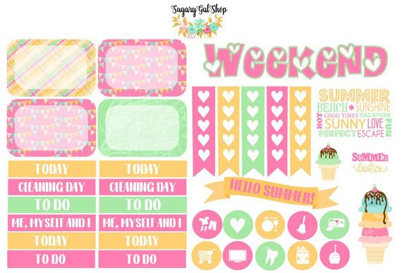 Birthday Party Planner Sticker Set by SugaryGaLShop on Etsy
