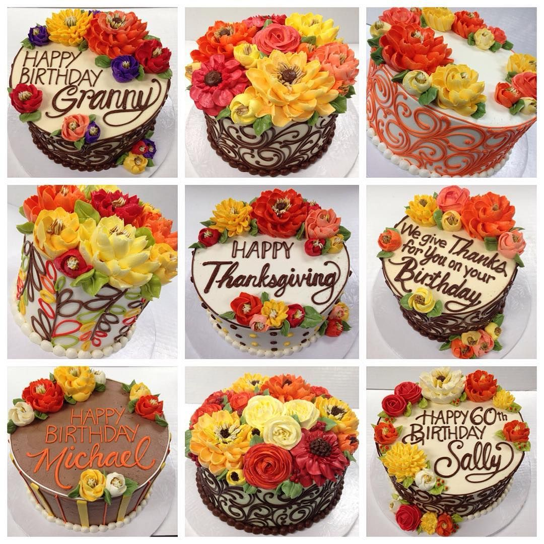 Repost Whiteflowercakeshoppe So Many Fall Themed Buttercream Cakes Went Out Our Doors Thanksgiving Cakes Decorating Fall Birthday Cakes Fall Cakes Decorating
