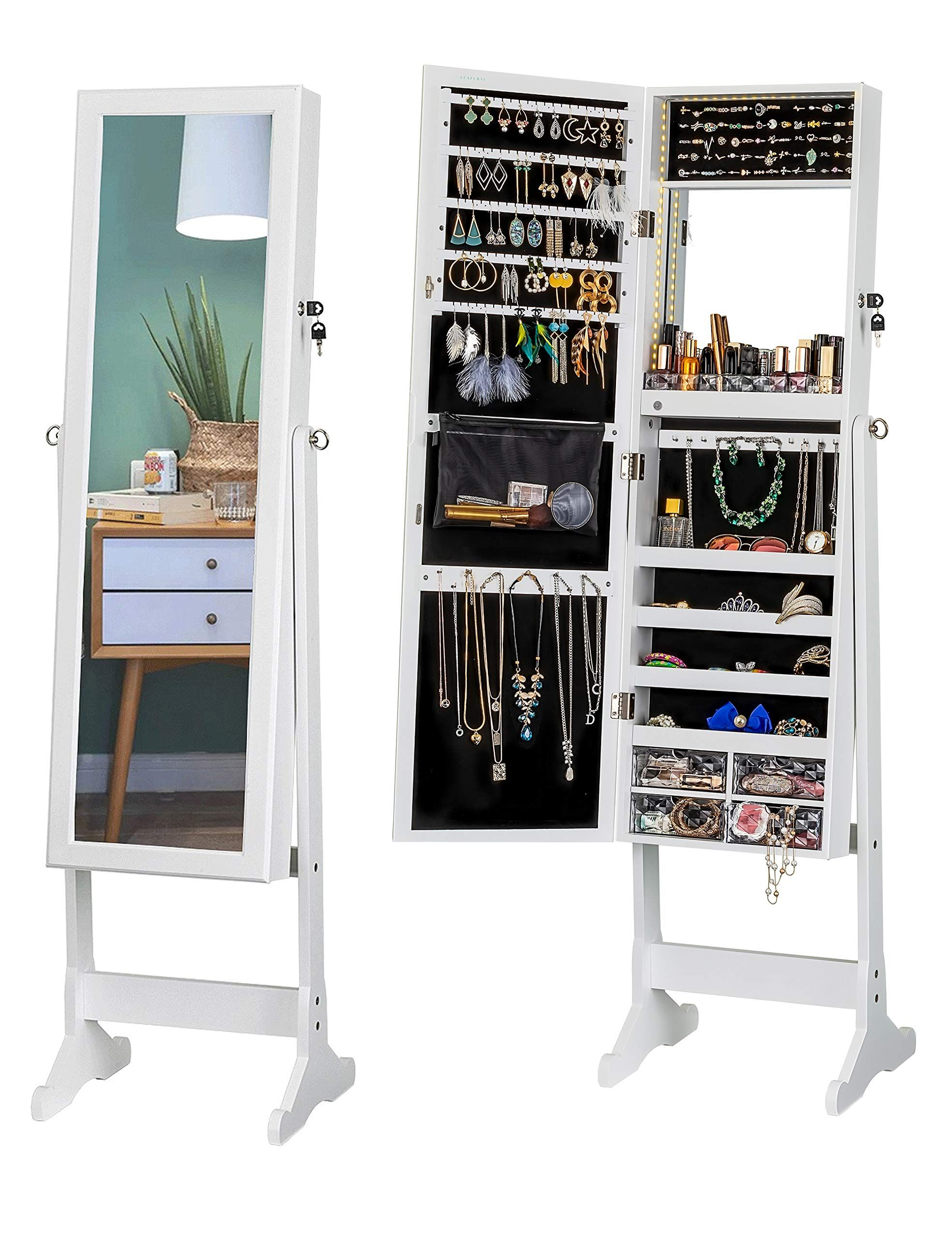 Luxfurni Led Light Jewelry Cabin Jewelry Cabinet Light Jewelry Storage Mirror