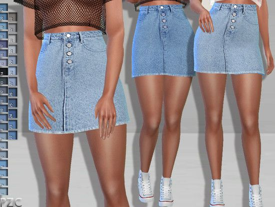 M.Guided- Exposed Button Denim Jeans Skirt available in 33 colors.  Found in TSR…