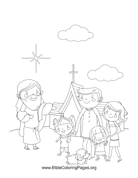 Church Worship Is Represented By A Happy Family With Jesus In This Christian Coloring Page Christian Coloring Coloring Pages Bible Coloring Pages