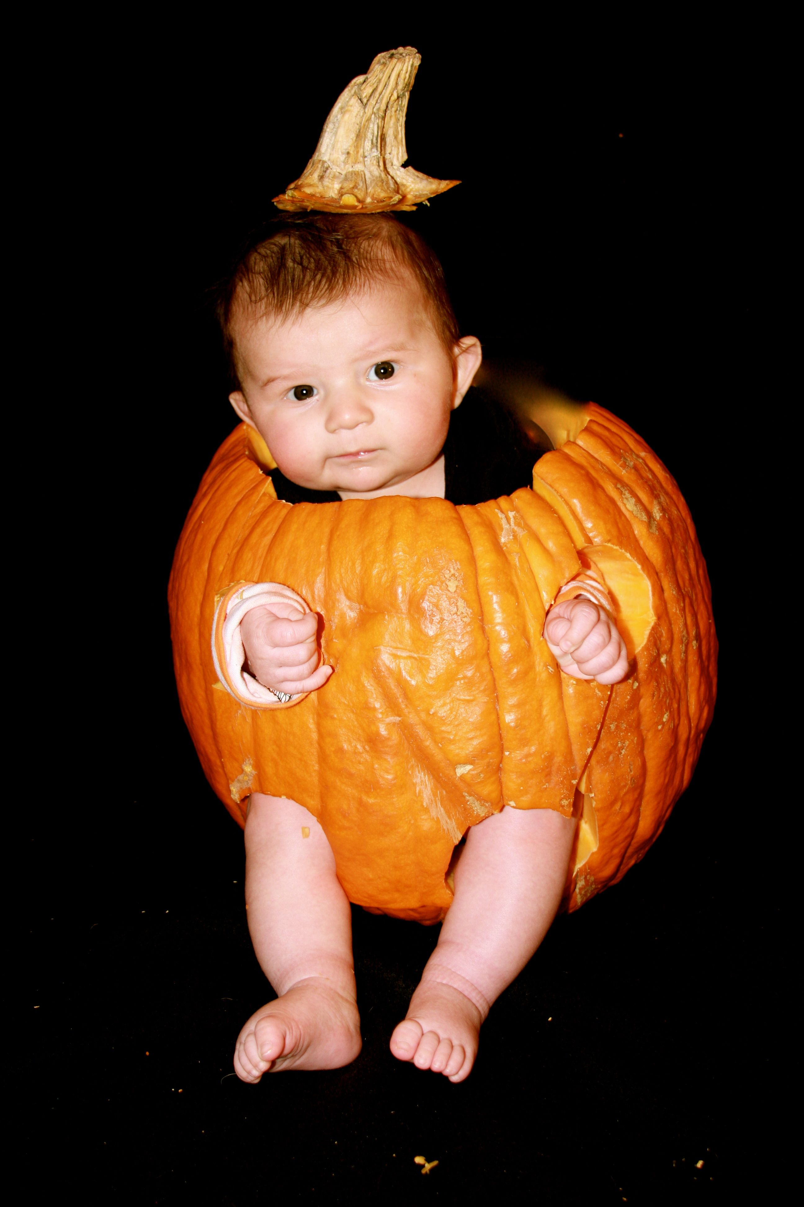 Cut front of pumpkin out to slide baby in photo Pinterest