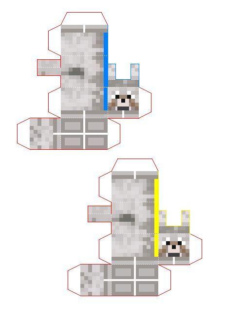 Minecraft Tamed Wolf Papercraft