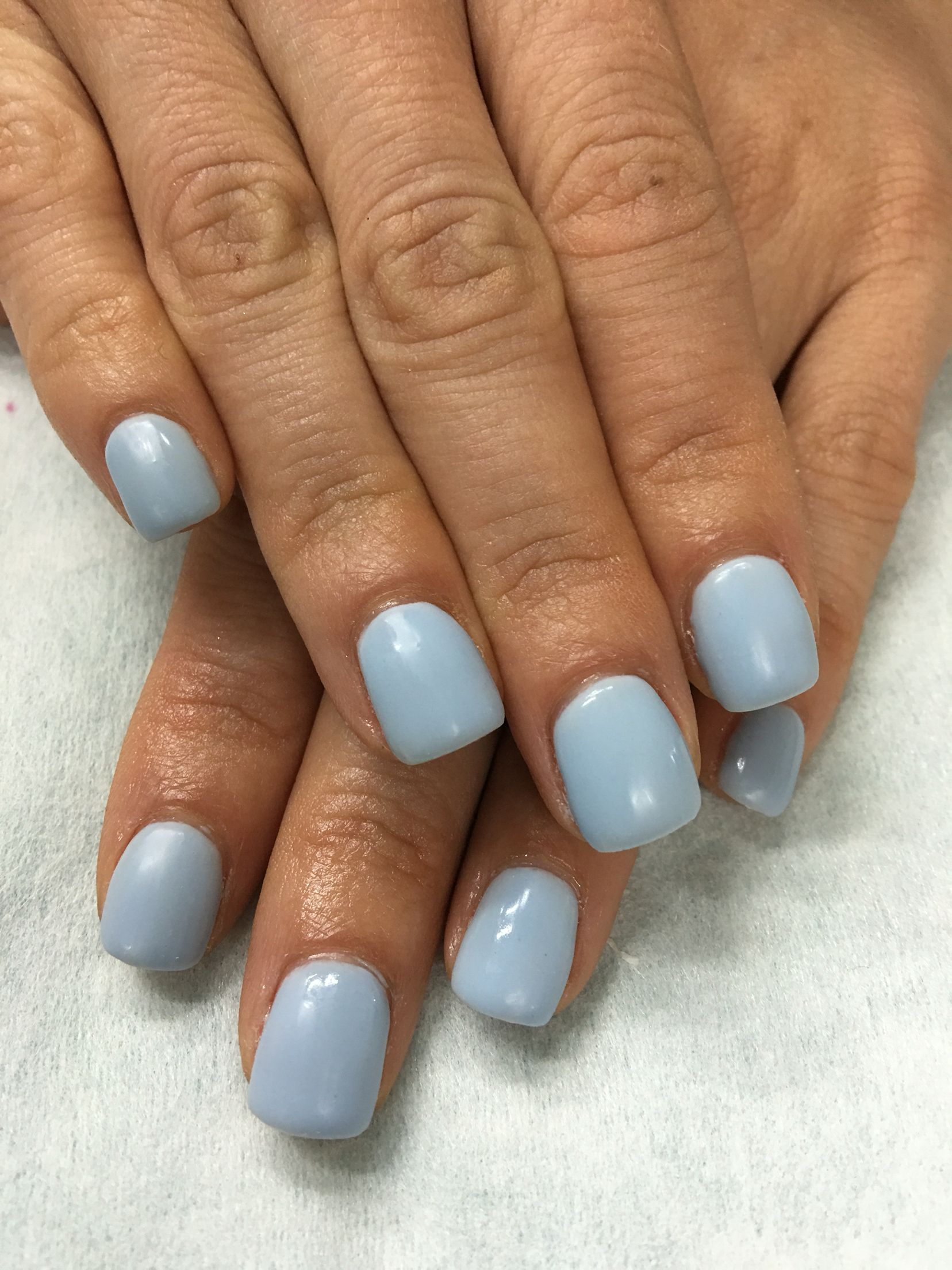 Matte Blue Lavender Gel Nails