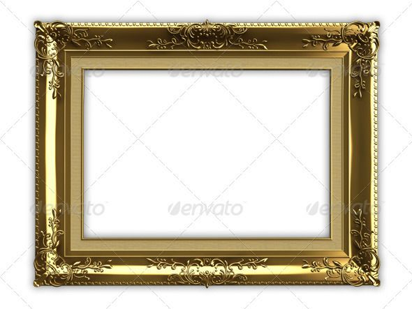 Gold Picture Frame 3d, Template and Font logo - blank tri fold brochure template