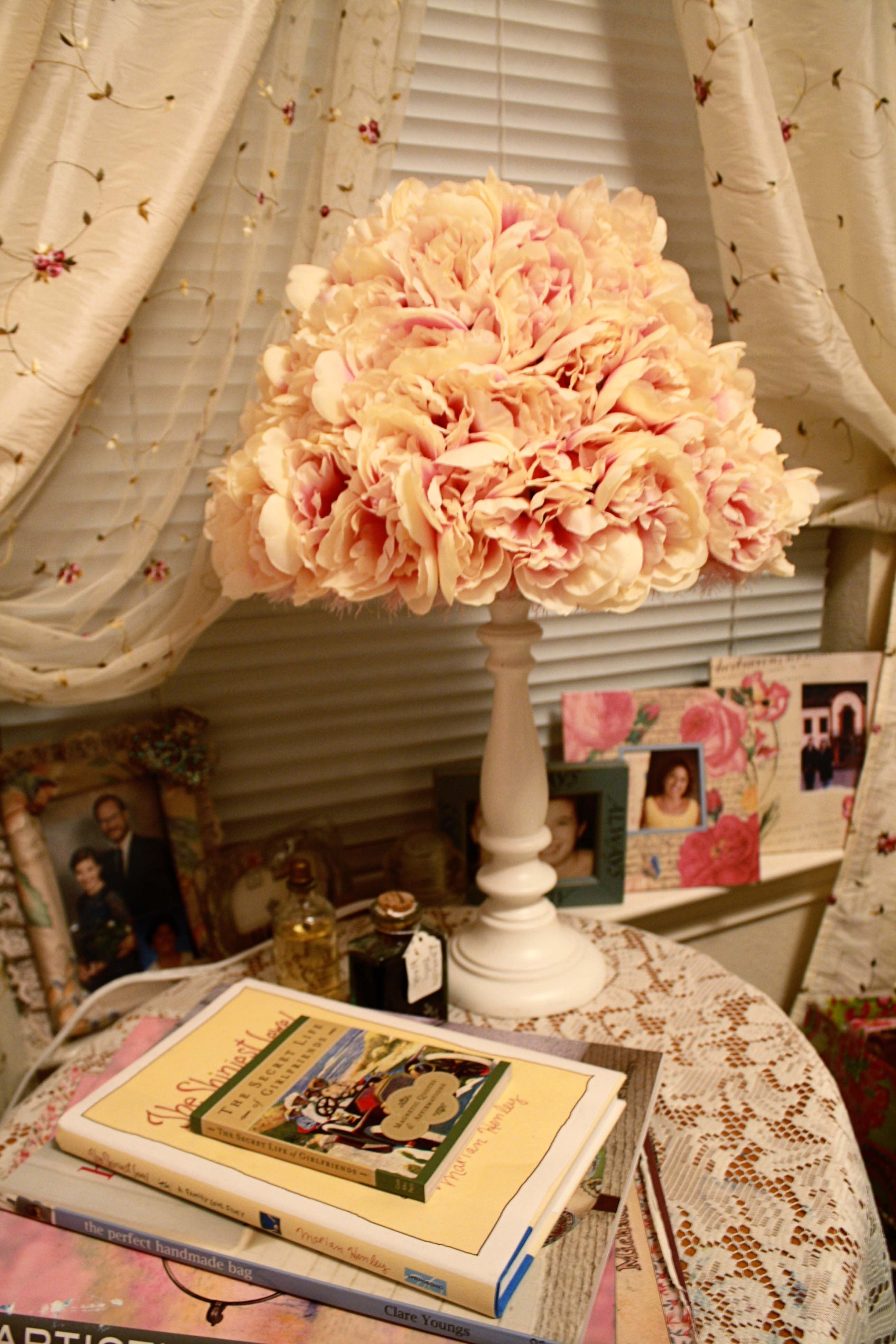 Diy floral lamp shades art and inspiration pinterest flower diy floral lamp shades mozeypictures Images