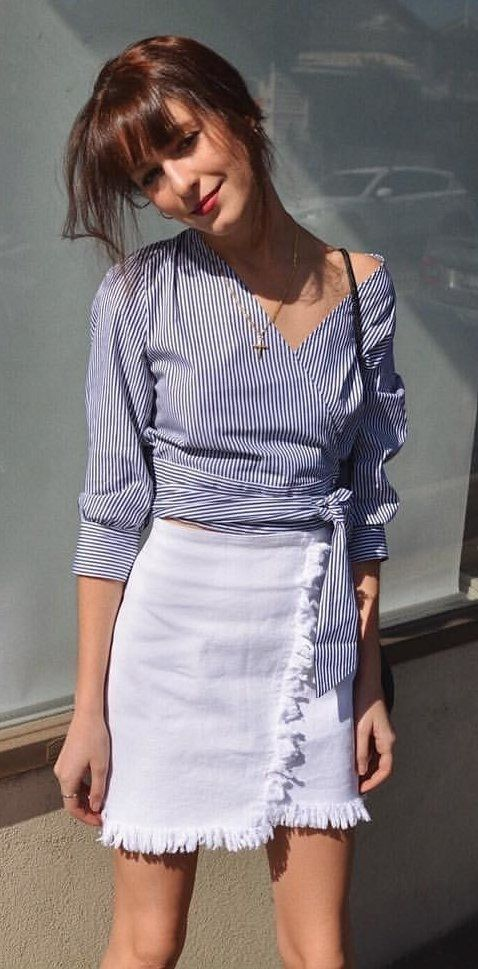 5ffd3a5c3b922  fall  outfits Blue Striped Wrap Blouse + White Wrap Skirt