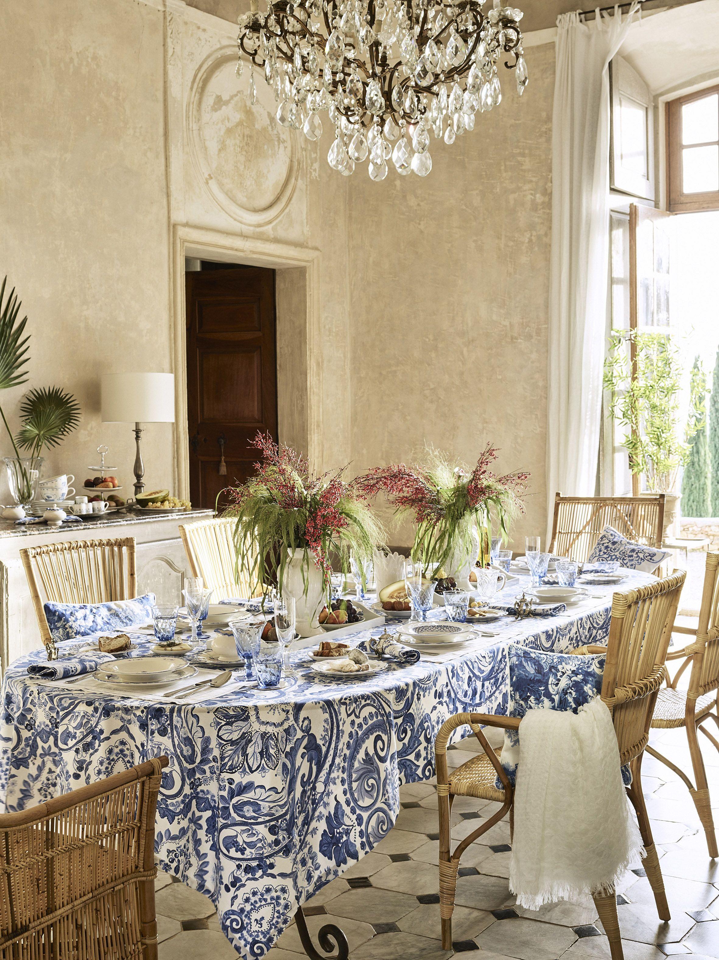 That Tablecloth Is Everything #zarahome #indigo  Yemek Masası Endearing Dining Room Tablecloths Inspiration