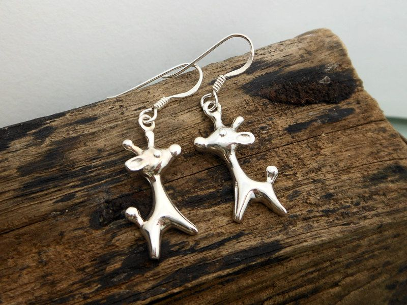 Sterling Silver Giraffe Drop Dangle Earrings