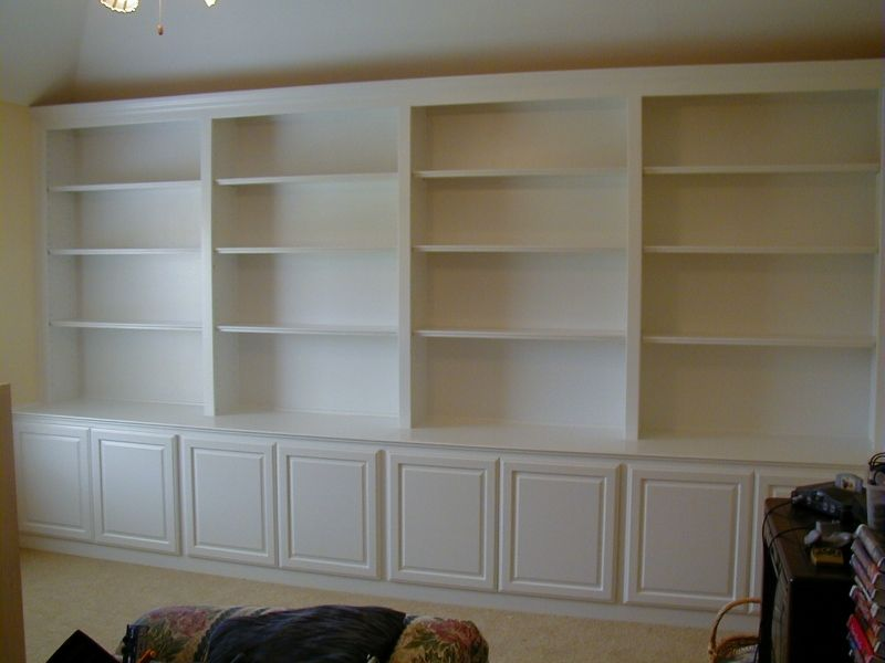 this 10-foot wide and 8-foot tall bookcase was custom sized for