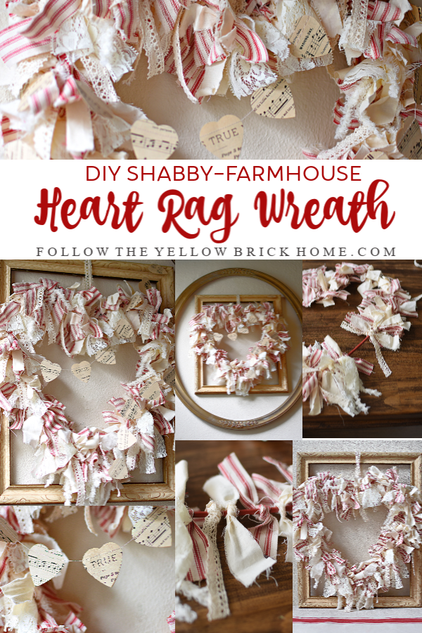 DIY Shabby Farmhouse Heart Rag Wreath Valentine's Day Wreath
