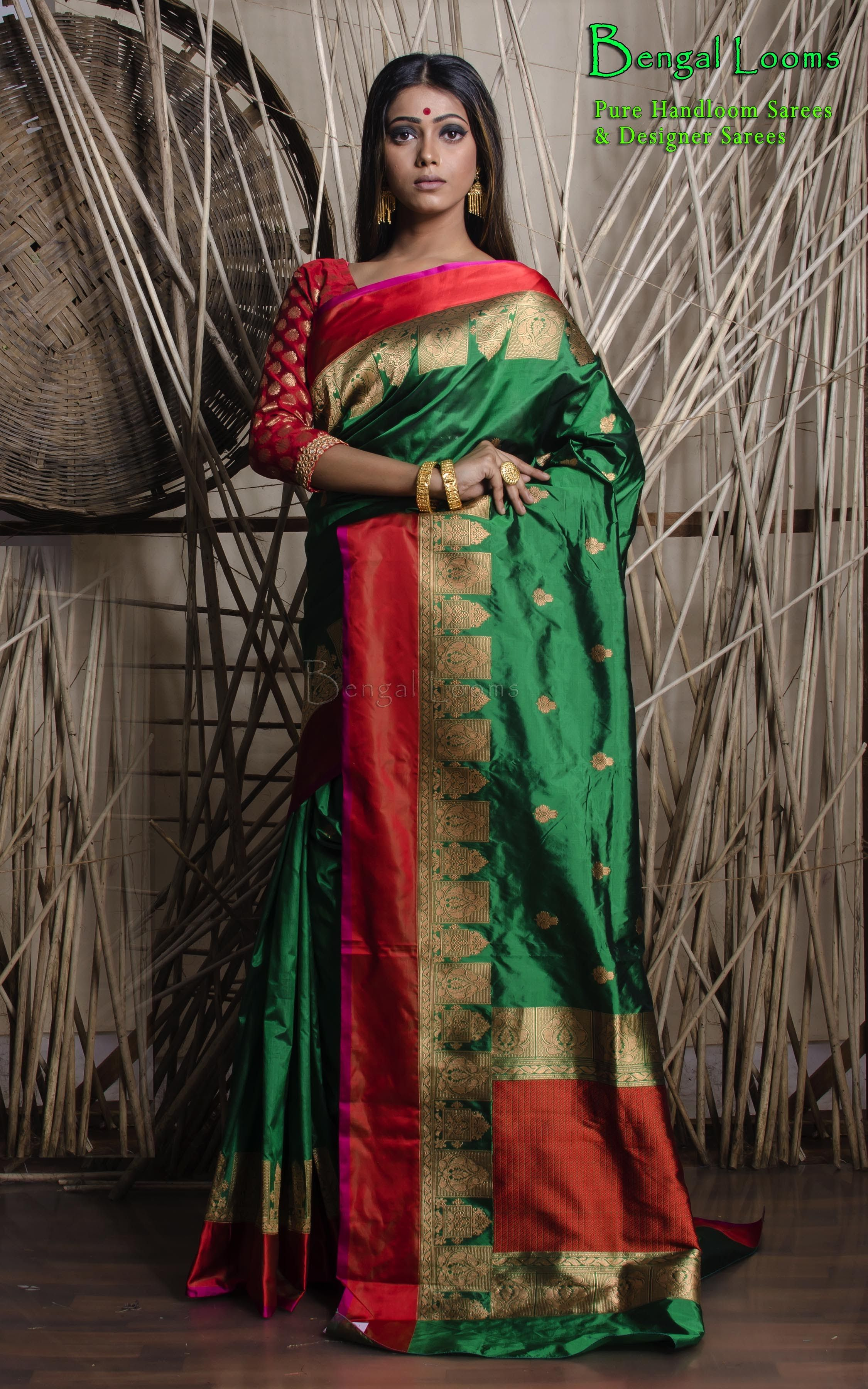 210e9f25d6 Beautiful Dark Green Katan Silk Banarasi Saree available for sale from  Bengal Looms.