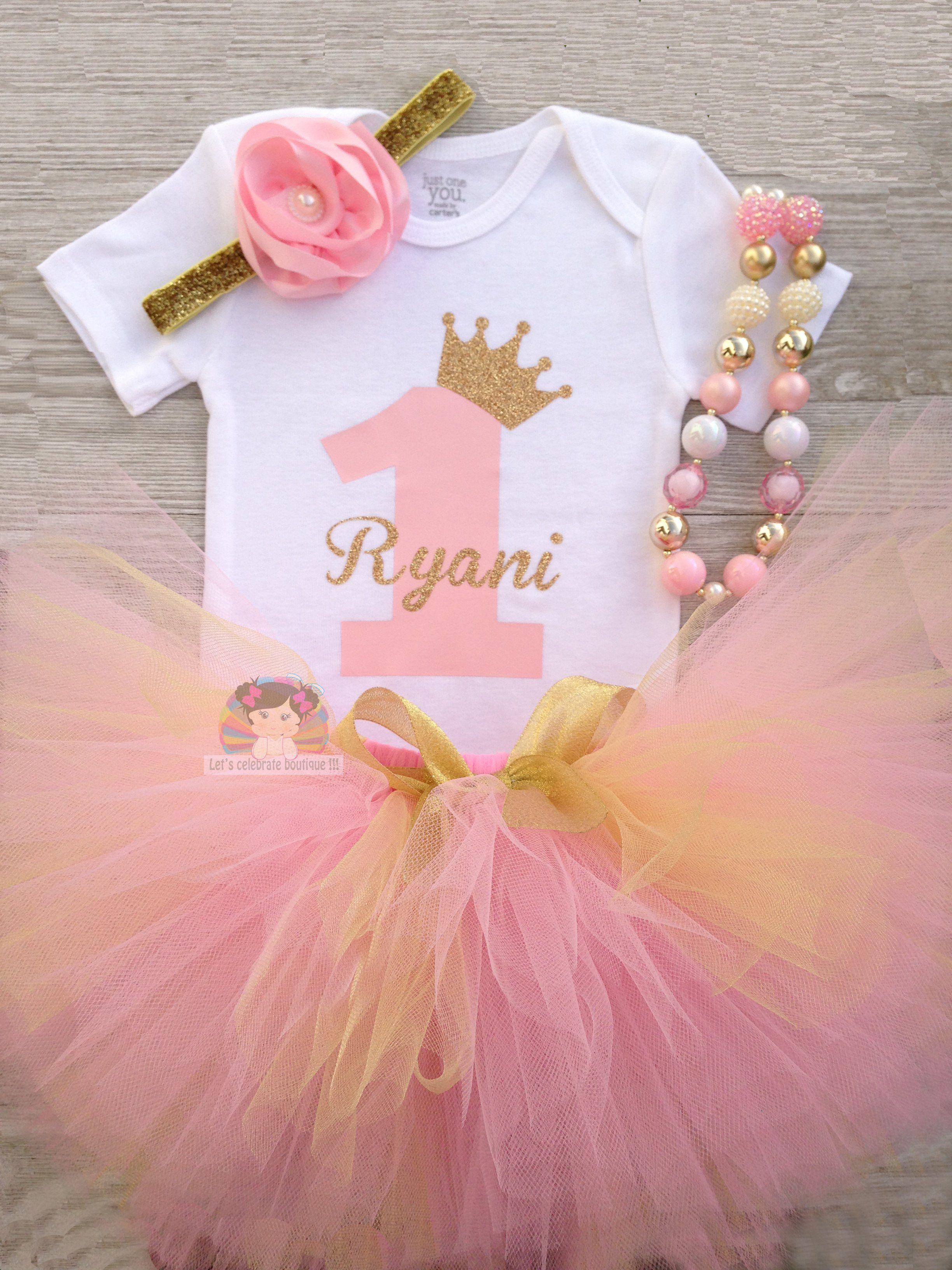 princess outfit pink and gold Princess Birthday tutu set cake smash Princess Party outfit First Birthday tutu set