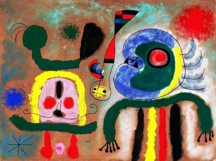 Joan Miró - L'oiseau encerclant d'or étincelant la pensée du poète, 1951 #arte