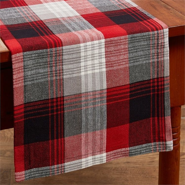 36 red black and white plaid table runner fall christmas cabin home - Christmas Plaid Table Runner