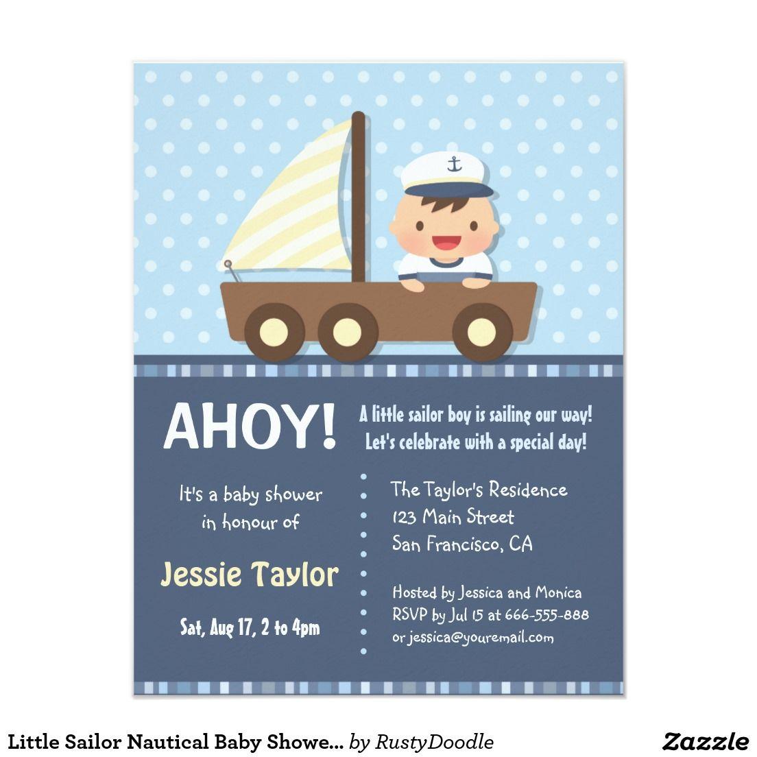 Little Sailor Nautical Baby Shower Invitations | Shower invitations