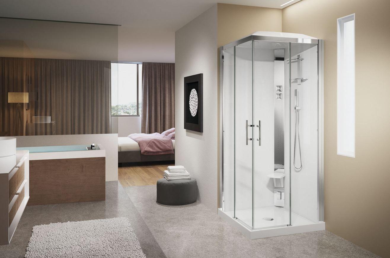 Cabine Douche Thalasso destiné cabines de douche crystal de novellini. système de massage dorsal et