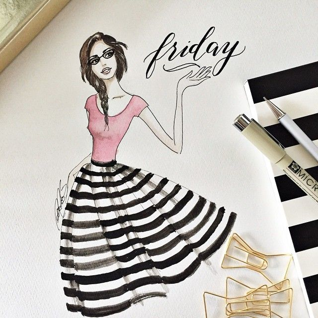 Finally Friday! How did your week go? #fancygirl #fashionillustration #illustration #fancygirlart #pink #stripes #braid