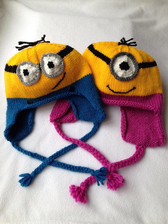 Knitting Pattern Minion Ear Flap Hat Knitting Pinterest Flap