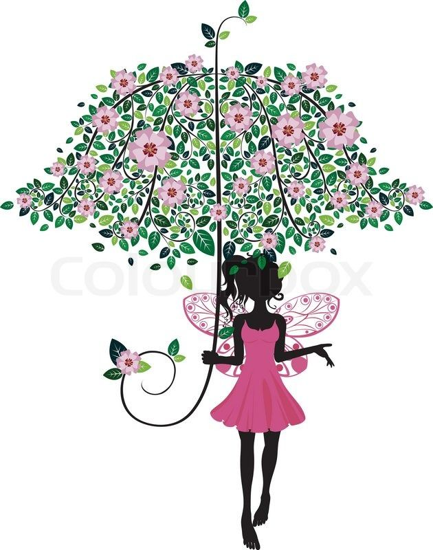 Stock vector of 'Abstract fairy silhouette with decorative floral umbrella.'