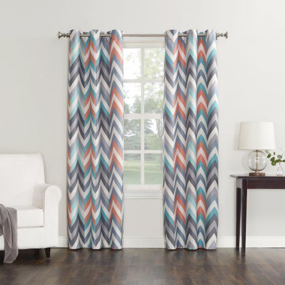 Sun Zero Chevron Room Darkening Grommet Curtain Panel