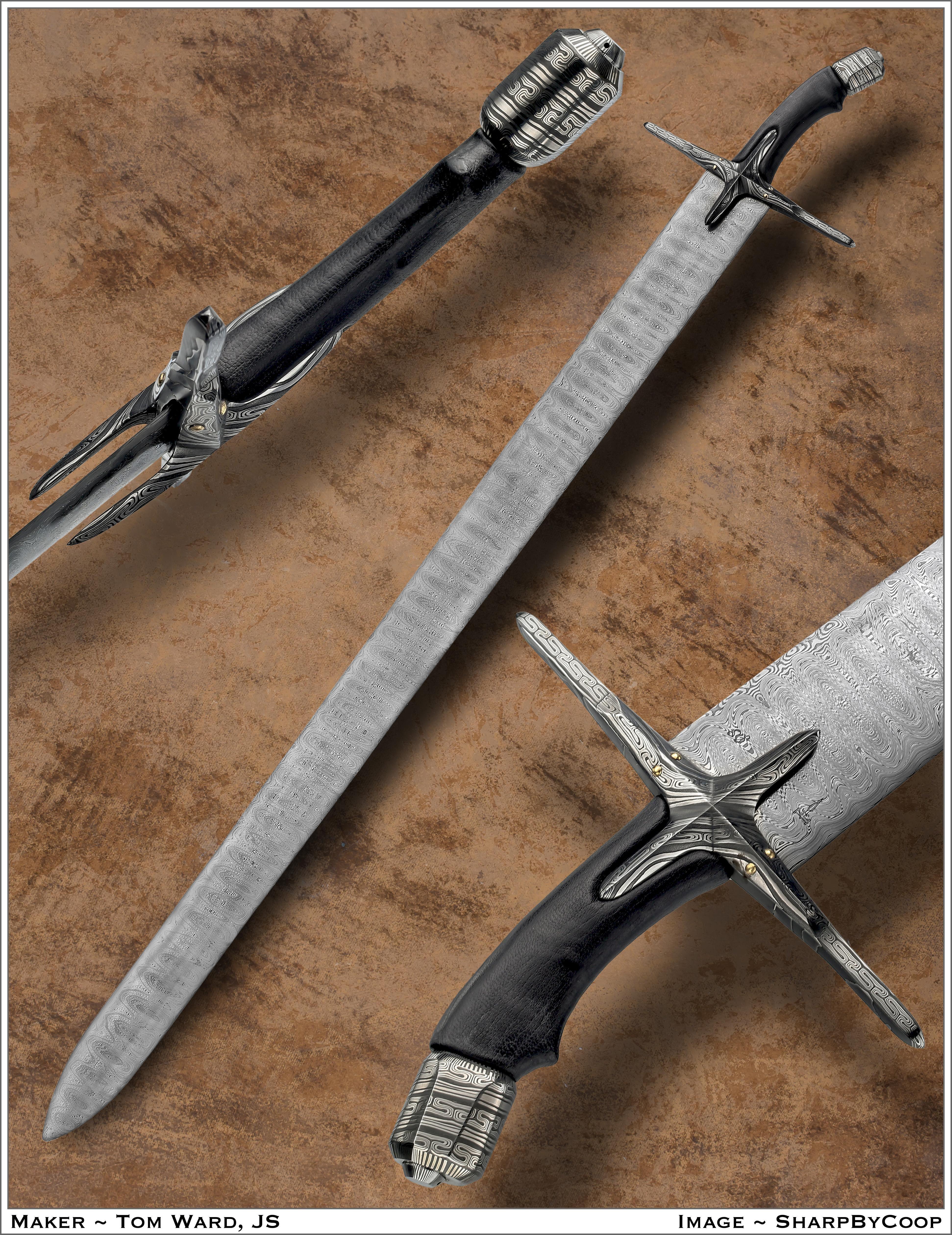 PLATE 86 Damsascus Steel leather wood 48x9