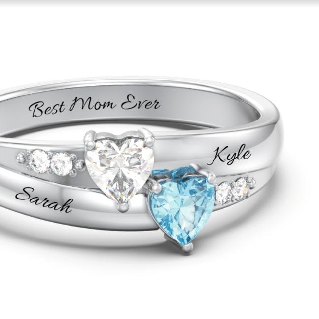 f678b0499 Double Heart Gemstone Ring with Accents #jewelry #myjewlr #jewlr #love  #diamonds #fashion #ring #personalize #gem #gemstone #sparkle #birthstone  #mother ...
