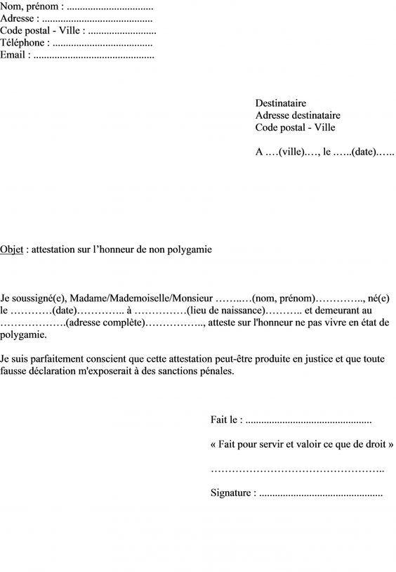 Modele Attestation Sur L Honneur Non Polygamie Pour Titre Sejour Administration France Info