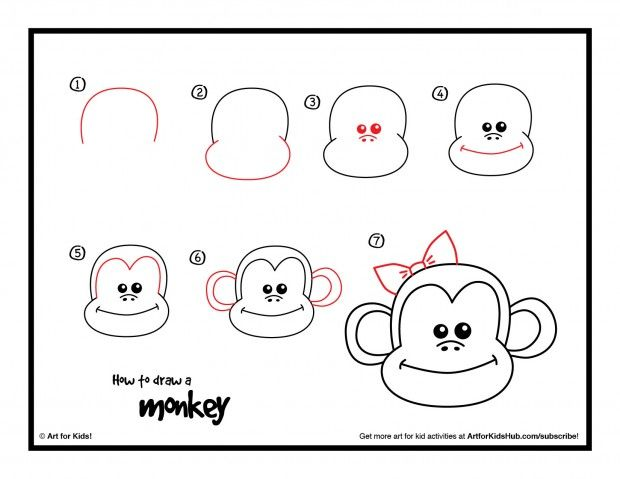 How To Draw A Monkey - Art For Kids Hub - | Free printables, Free ...
