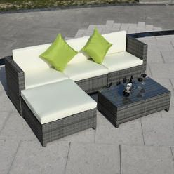 5PC Patio Rattan Wicker Sofa Set Cushioned Furniture Garden Steel Gradient  Gray   Sears