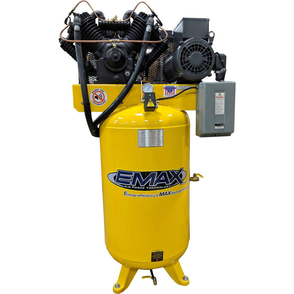 Emax Industrial Series 80 Gal 7 5 Hp 1 Phase Silent Air Electric Air Compressor With Pressure Lubricated Pump Hs07v080v1 The Home Depot Electric Air Compressor Air Compressor Compressor