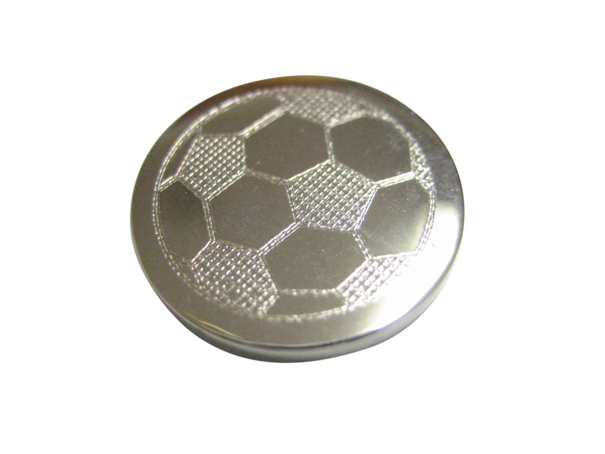 Silver Toned Etched Round Soccer Ball Pendant Magnet Soccer Ball Pendant Ball Pendant Silver Tone