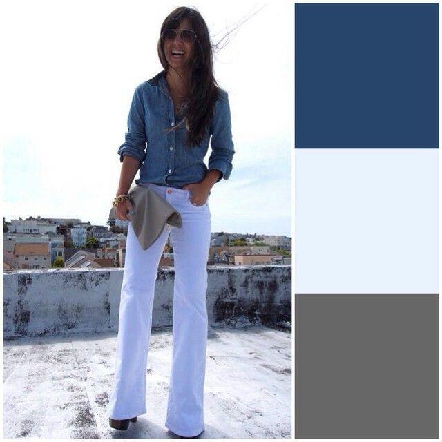 Camisa jeans e calça branca