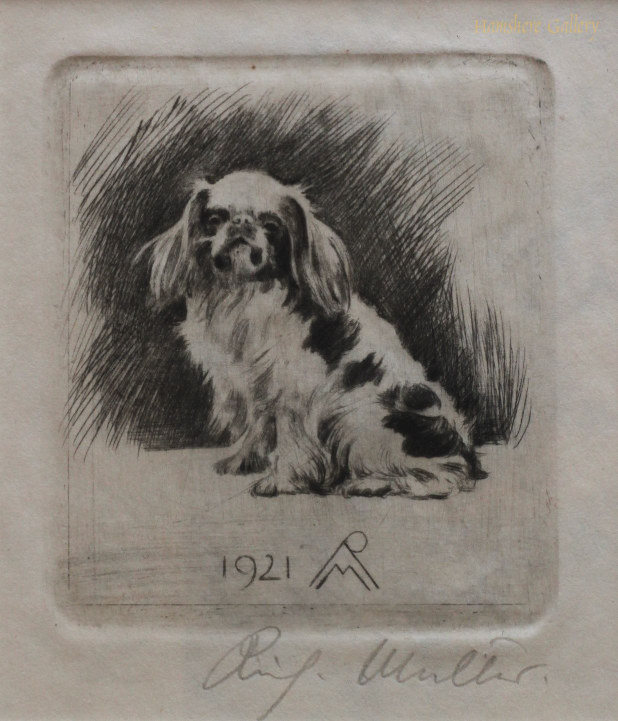 Click to see full size: A dry-point miniature etching of an English Toy Spaniel…