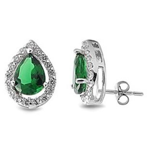 CZ Emerald Stud Earrings