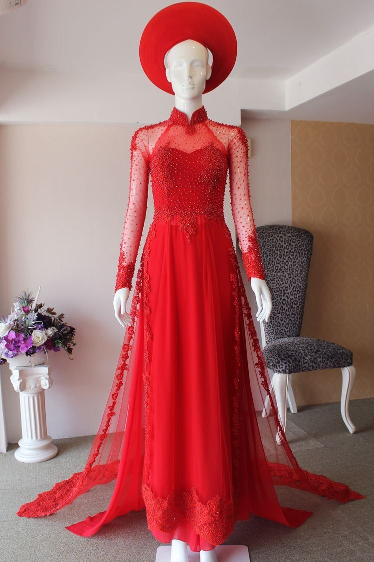 Vietnamese traditional bridal dress Red Ao Dai Red