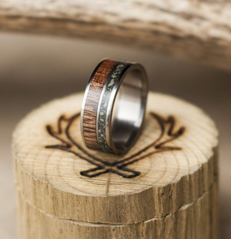 Handcrafted Wedding Band Featuring Iron Ore Coconut Wood