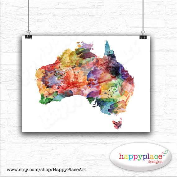 Australia Map Art.Watercolour Map Of Australia As Wall Art Large By Happyplaceart