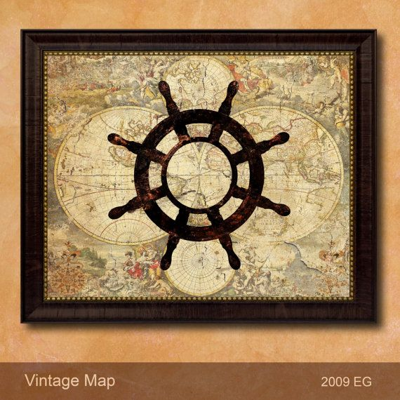 Classic Antique Style Naval Sea Wall Art Color by AllChalkboard ...